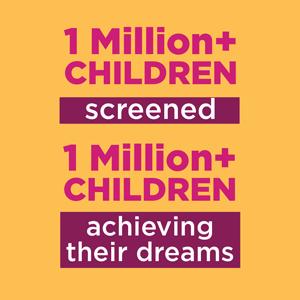 1 Million+ Children screened, 1 Million+ Children achieving their dreams