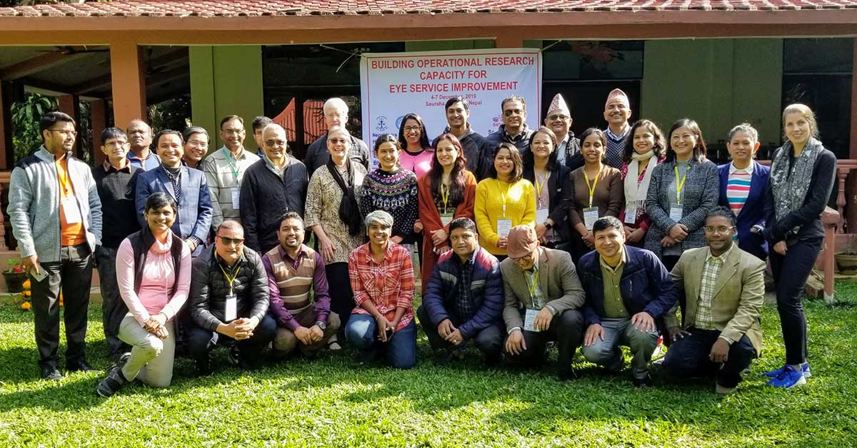 Participants from Nepal, India, Cambodia, US, and Canada for the launch of Seva's Operations Research Capacity Building workshop 2020 (ORCB2020) held in Chitwan, Nepal.