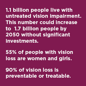 - 1.1 billion people live with untreated vision impairment. This number could increase to 1.7 billion people by 2050 without significant investments. - 55% of people with vision loss are women and girls. - 90% of vision loss is preventable or treatable.